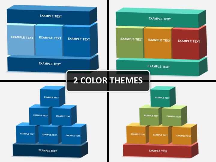 3D blocks structure PPT cover slide