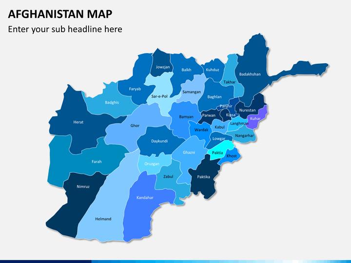 Afghanistan map PPT slide 1