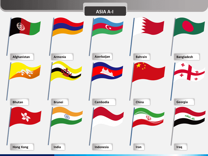 Asia flags PPT slide 1
