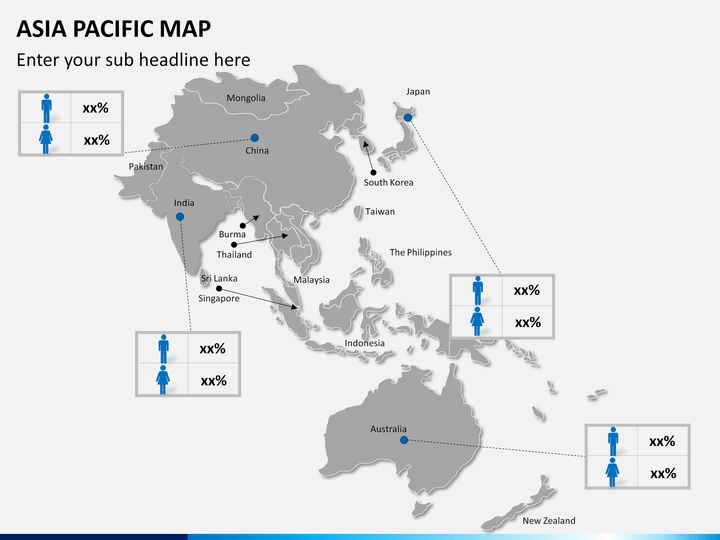 Australia And Pacific Map.Asia Pacific Apac Map Powerpoint Sketchbubble