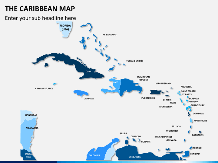 The Caribbean map PPT slide 1