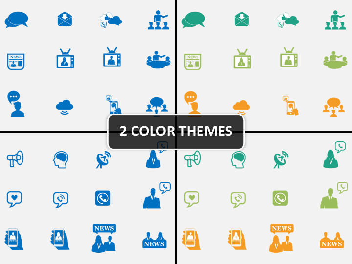 Communication Icons PPT cover slide