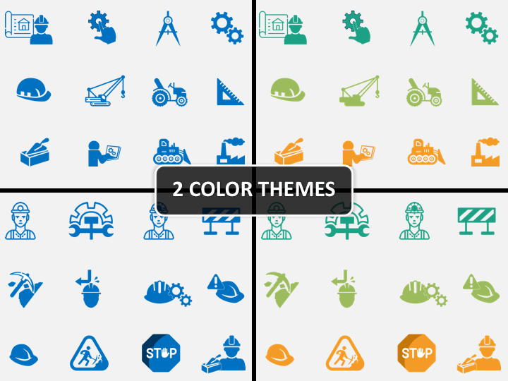 Construction Engineering Icons PPT cover slide