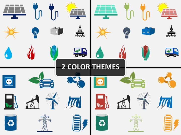 Energy icons PPT cover slide