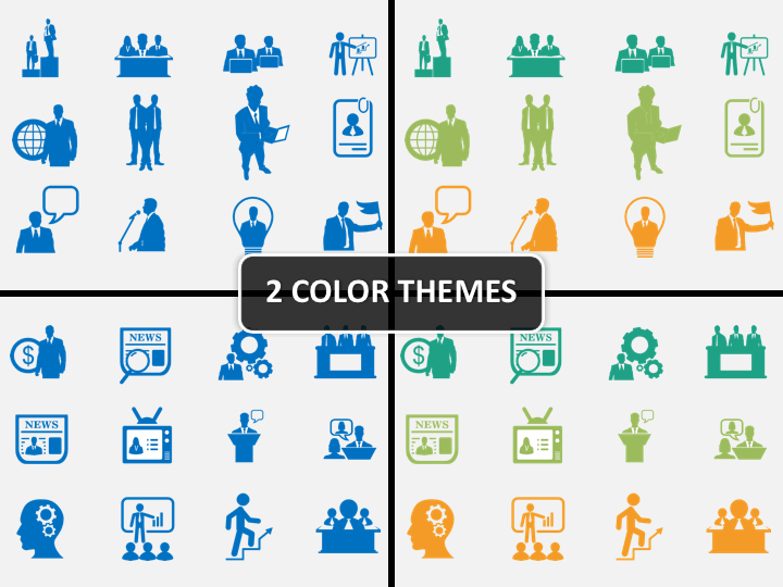 HR icons PPT cover slide