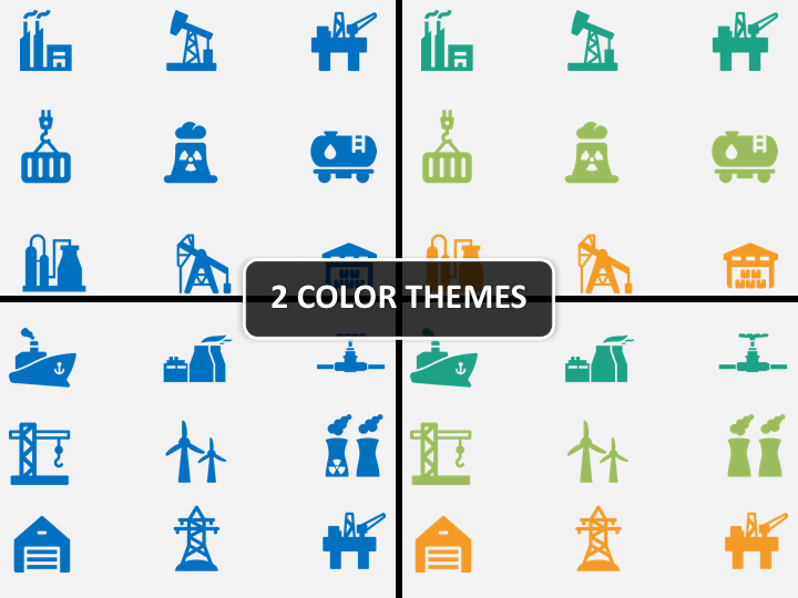 Industry icons PPT cover slide