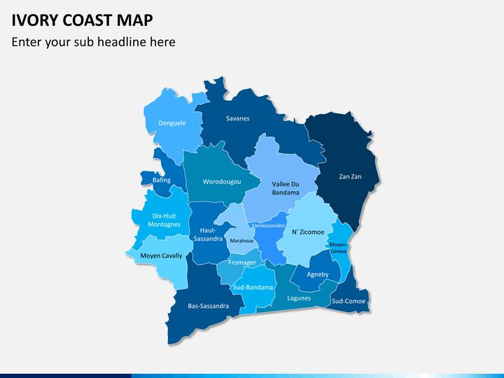 Ivory coast map PPT slide 2