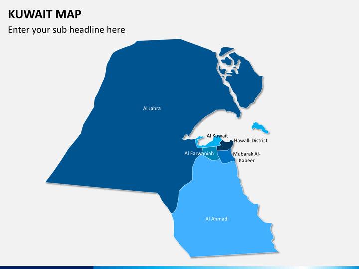 Kuwait map PPT slide 1