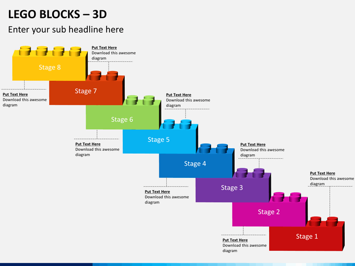 Powerpoint Lego Blocks Diagram