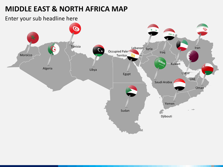 Middle East and North Africa MENA Map PowerPoint SketchBubble
