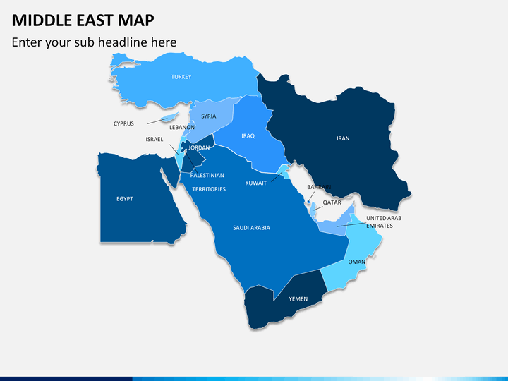 Middle east map PPT slide 1