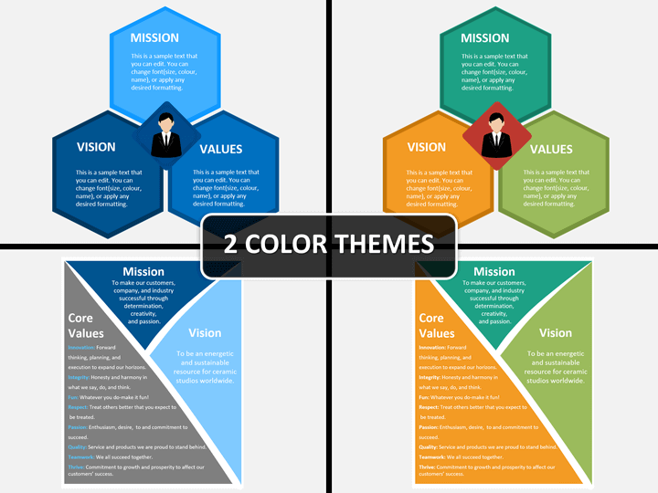 mission vision and values powerpoint template sketchbubble
