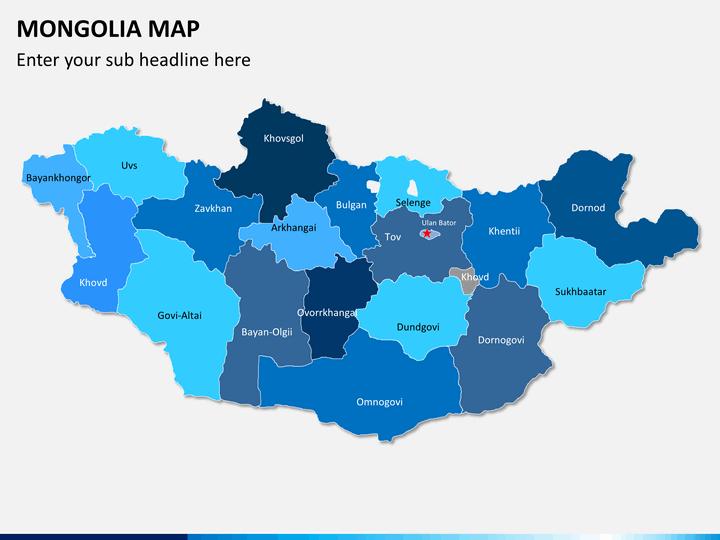 Mongolia map PPT slide 2