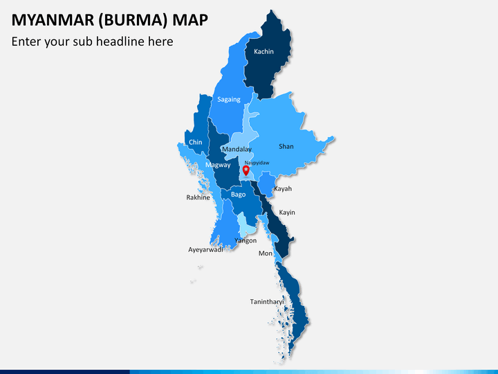 Myanmar (Burma) Map PPT slide 1
