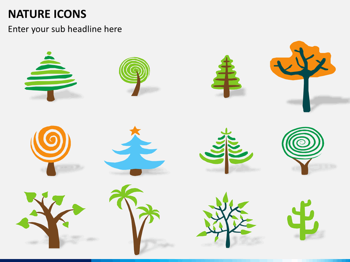 Nature icons PPT slide 1