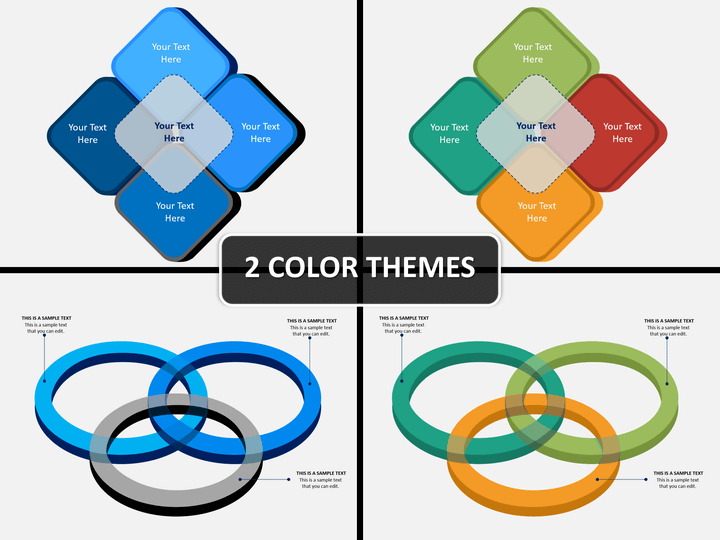 Overlapping 3d shapes PPT cover slide