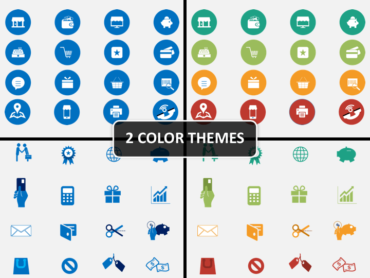 Retail icons PPT cover slide