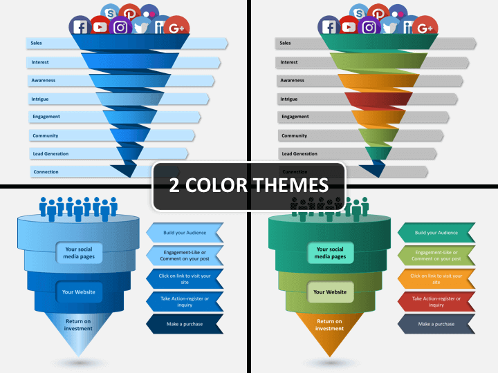 social media funnel powerpoint template sketchbubble
