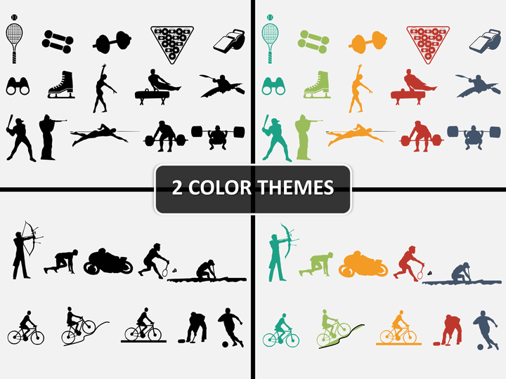 Sports icons PPT cover slide