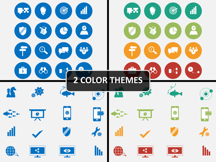 Strategy icons PPT cover slide