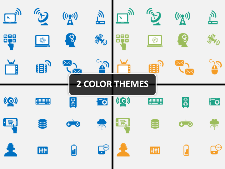 Technology icons PPT cover slide