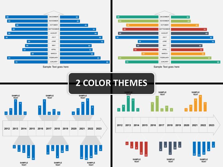 Timeline bar chart PPT cover slide