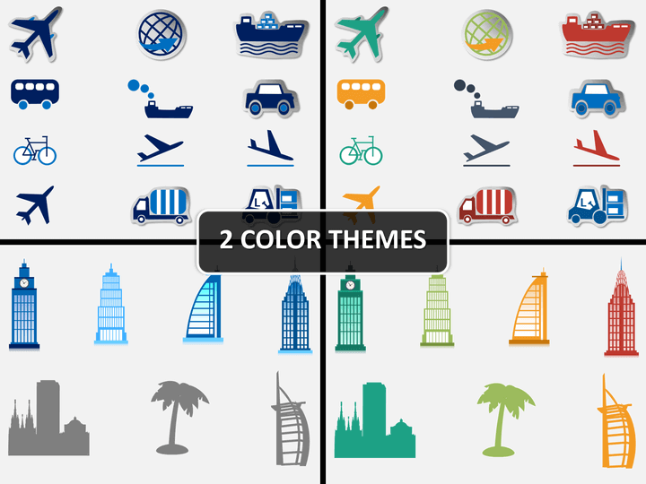 Travel icons PPT cover slide