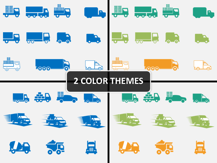 Truck icons PPT cover slide