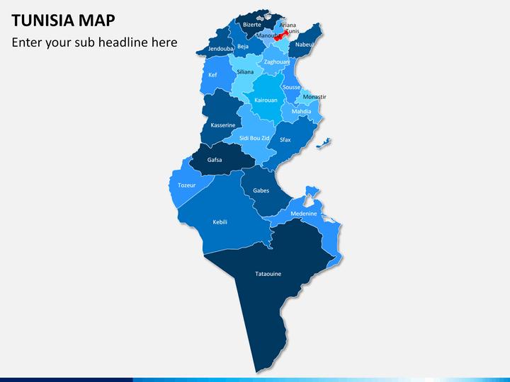 Tunisia map PPT slide 1