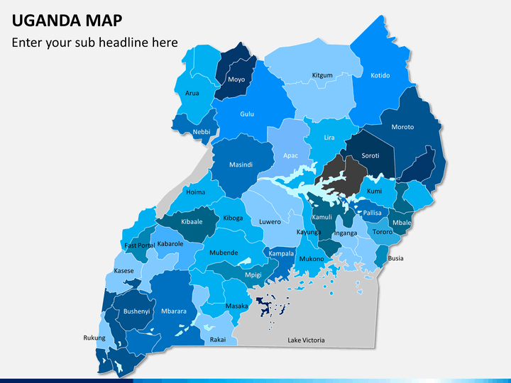 Uganda map PPT slide 1