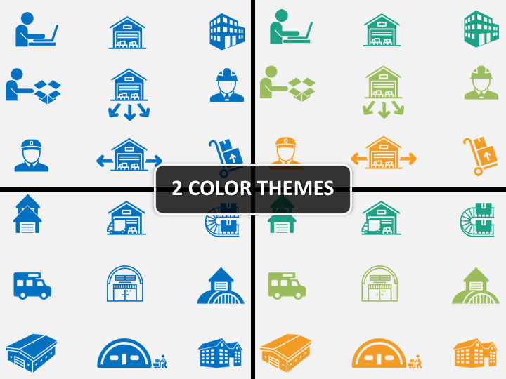 Warehouse Icons PPT cover slide