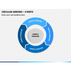 Circular Arrows – 4 Parts PPT Slide 1