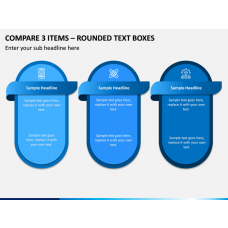 Compare 3 Items – Rounded Text Boxes PPT slide 1