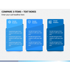 Compare 3 Items – Text Boxes PPT slide 1