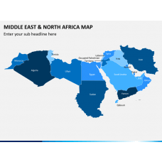 Middle east and north africa map PPT slide 1