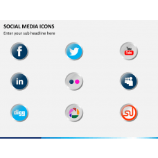 Social media icons PPT slide 1
