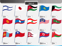 Asia flags PPT slide 2