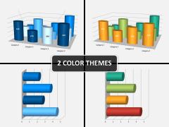 Cylinder bar chart PPT cover slide