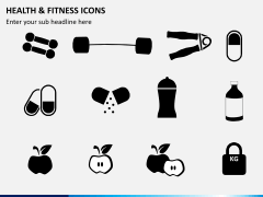 Health and fitness icons PPT slide 1