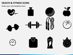 Health and fitness icons PPT slide 2