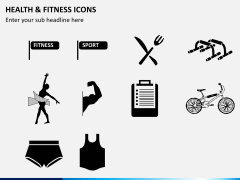 Health and fitness icons PPT slide 4