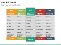Pricing table PPT slide 23