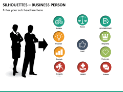 Silhouettes business person PPT slide 24