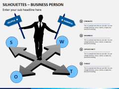 Silhouettes business person PPT slide 13