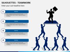 Silhouettes teamwork PPT slide 1
