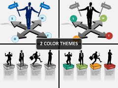 SWOT analysis with silhouettes PPT cover slide
