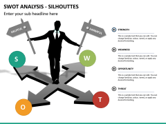 SWOT analysis with silhouettes PPT slide 7