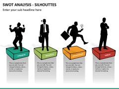 SWOT analysis with silhouettes PPT slide 8