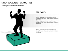 SWOT analysis with silhouettes PPT slide 9