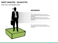 SWOT analysis with silhouettes PPT slide 10